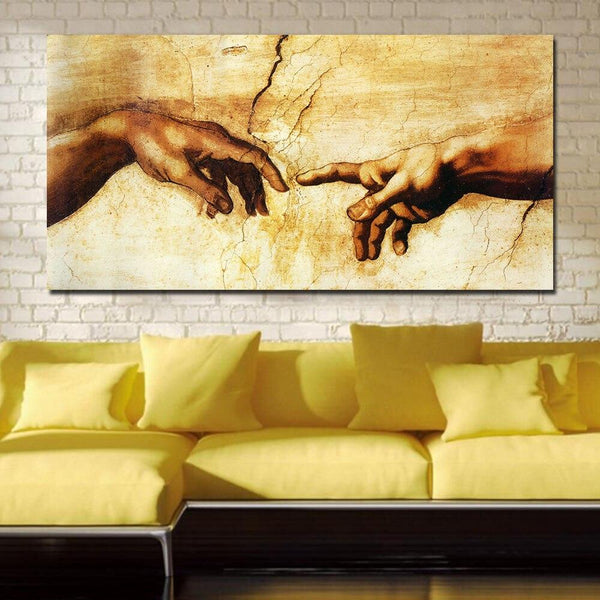 High Quality Giclee Print Jqhyart Canvas Prints Famous Oil Painting (Creation Of Adam) By