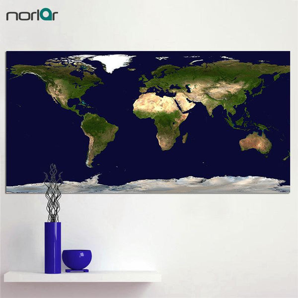 High Quality Giclee Print A Poster Hd Printed Satellite World Map Photograph Canvas Painting Wall