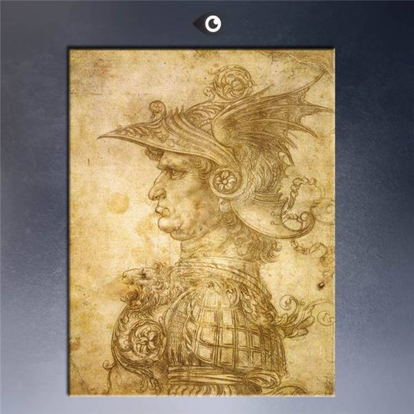 High Quality Giclee Print Profile-Of-A-Warrior-In-Helmet Poster By Leonardo Da Vinci Wall Oil