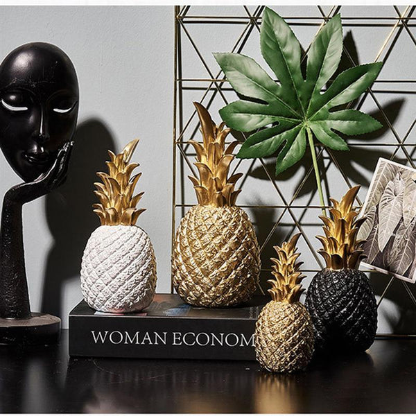 Nordic Creative Resin Gold Pineapple Fruit Crafts Living Room Wine Cabinet Window Desktop Home