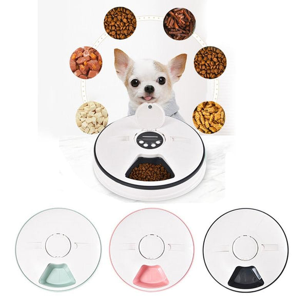 Automatic Pet Feeder Timing 6 Meals Grids Cat Dog Electric Dry Food Dispenser Dish Feed 24 Hours
