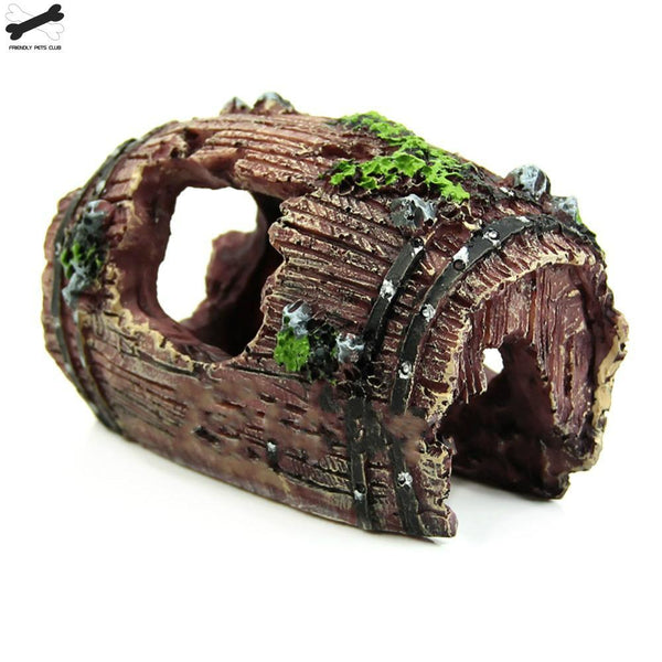 Aquarium Fish Tank Artificial Barrel Resin Ornament Cave Landscaping Decoration G3615 Alex Aquarium