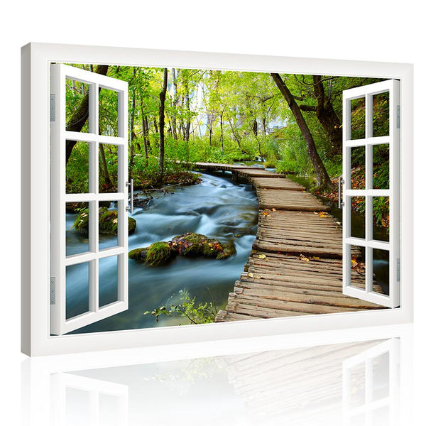 High Quality Canvas Print Landscape Wall Art Paintings Forest River Outside The Window Hd Giclee