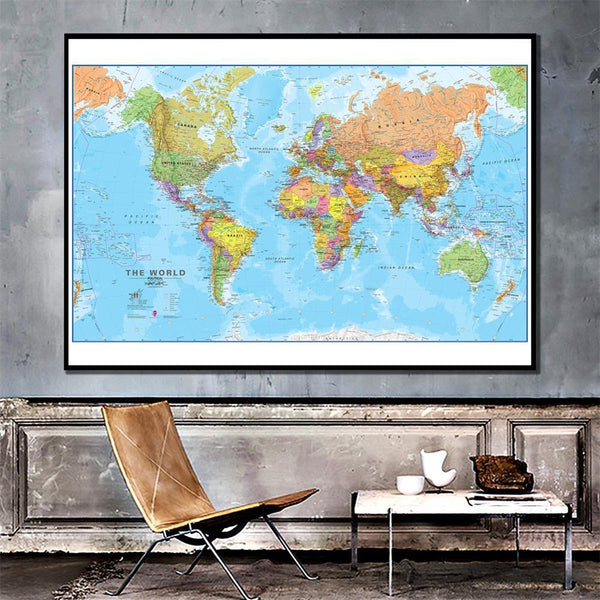 High Quality Canvas Print The World Political Map Poster And Prints Painting For Culture Education