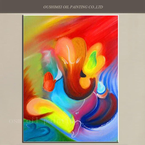 Top Artist Handmade High Quality Modern Abstract Elephant Ganesh Canvas Picture Hand Painted Hindu