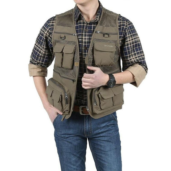 Outdoor Multi Pocket Fishing Photography Tactical Vests Men Quick Dry Thin Polyester Sleeveless