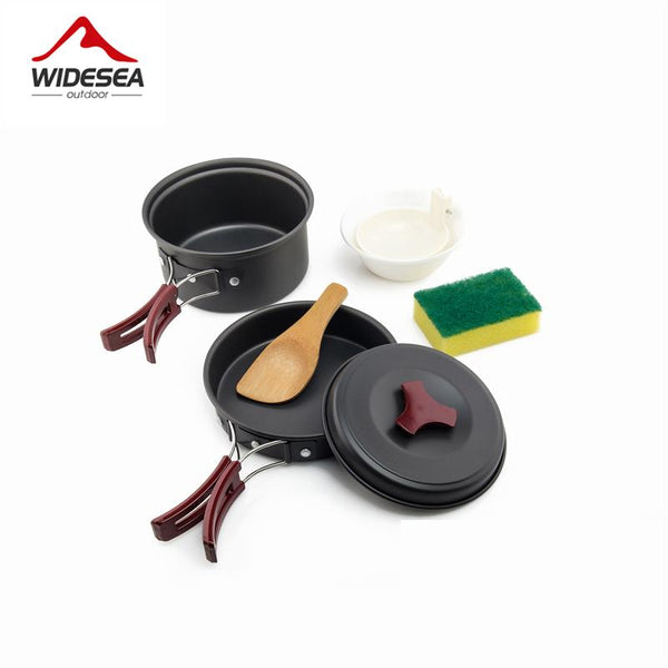 Widesea 1-2 Persons Camping Tableware Outdoor Cookware Picnic Set Travel Non-Stick Pots Pans Bowls