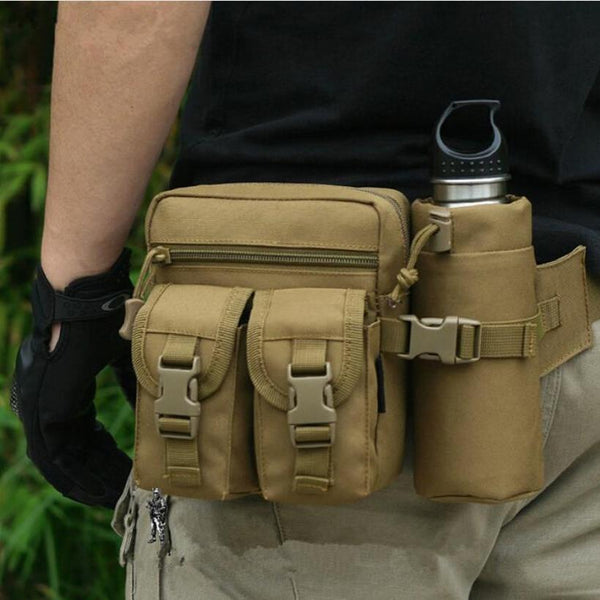 Outdoor Military Tactical Shoulder Bag Waterproof Oxford Molle Camping Hiking Pouch Kettle