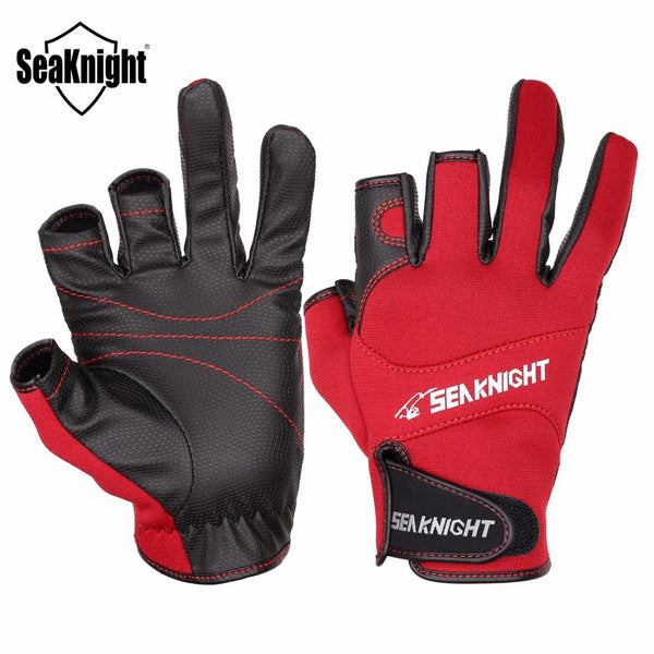 Seaknight Sk03 Sport Leather Fishing Gloves 1Pair/lot 3 Half-Finger Breathable Anti-Slip Glove