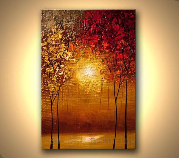 Handpainted Modern Contemporary Abstract Blooming Tree Picture Handmade Wall Art Sunset Forest