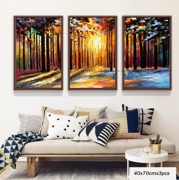 Ppalette Knife Painting Acrylic 3 Piece Canvas Oil Painting Modern Tree