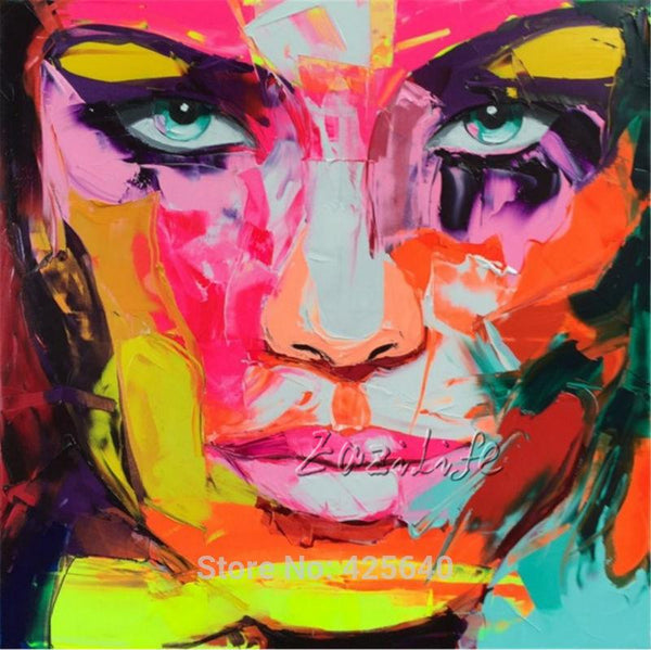 Francoise Nielly Canvas Painting Palette Knife Face Oil Painting Wall Art Picture