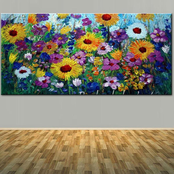 Large Size Hand Painted Abstract Art Wild Flower Landscape Oil Painting On Canvas (Hand Painted!)