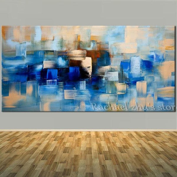 Abstract Blue Oil Painting On Canvas Palette Knife Art Wall Pictures (Hand Painted!)