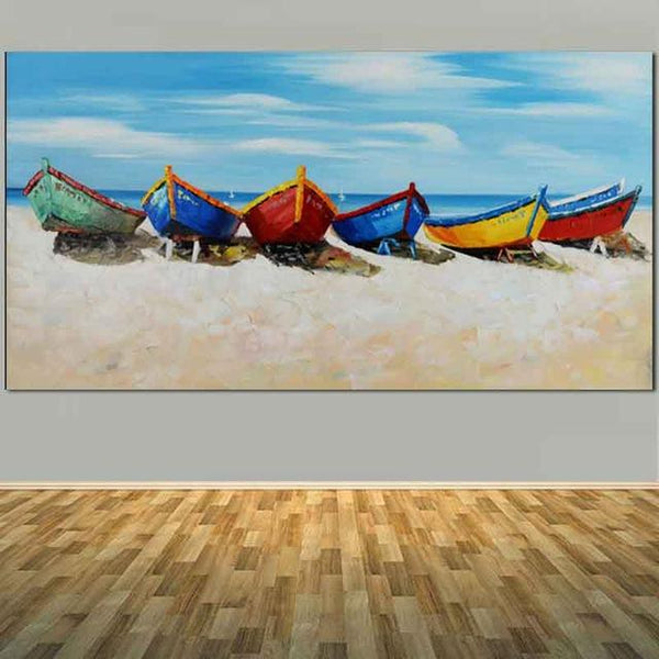 Large Size Hand Painted Abstract Boat Sea Beach Oil Painting On Canvas 40X80Cm / 00