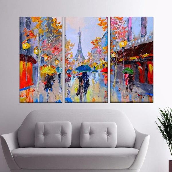 Paris Street Scene Oil Painting Colorful Europe Streetscapes Hand Painted Canvas