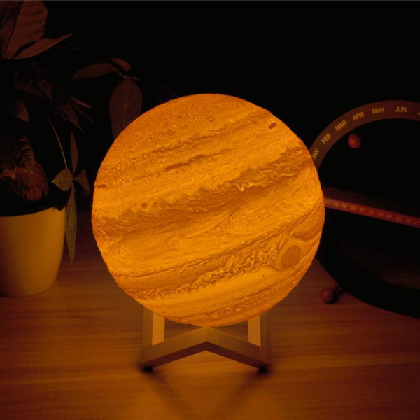 3D Light Print Jupiter Lamp Earth Colorful Moon Rechargeable Change Touch Usb Led