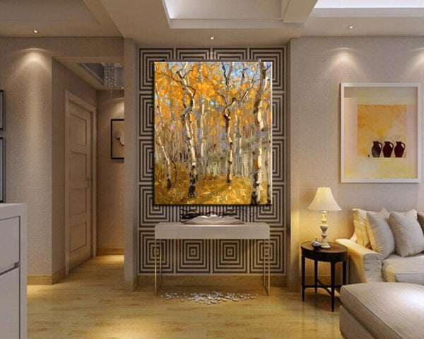 Hand Painted High Quality Modern Abstract Autunm Tree Leave Fine Artwork Pictures (Hand Painted!)