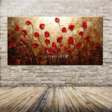 Textured Palette Knife Red Flower Oil Painting Abstract Modern Canvas