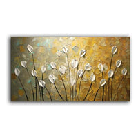 Textured Palette Knife Red Flower Oil Painting Abstract Modern Canvas 120X240Cm(48X96Inch) /
