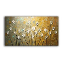 Textured Palette Knife Red Flower Oil Painting Abstract Modern Canvas 110X220Cm(44X88Inch) /