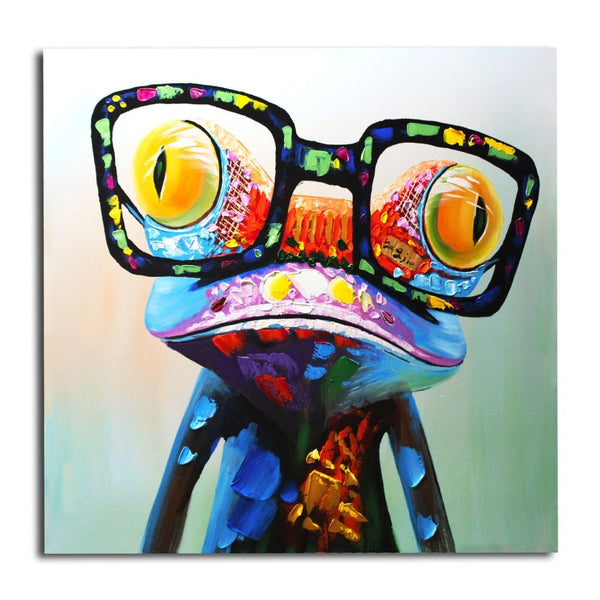 Happy Frog Handpainted Oil Painting Unframed Painting with Big Glasses
