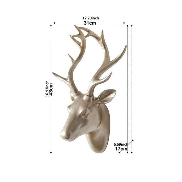 European Animal Deer Head Elephant Hanging Stereo Creative Livingroom Mural Golden Deer