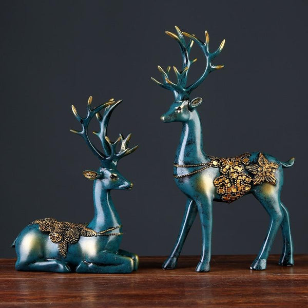 European Style 2 Pcs Resin Deer Figurine Statue Home Living Room Decor Crafts Sculpture