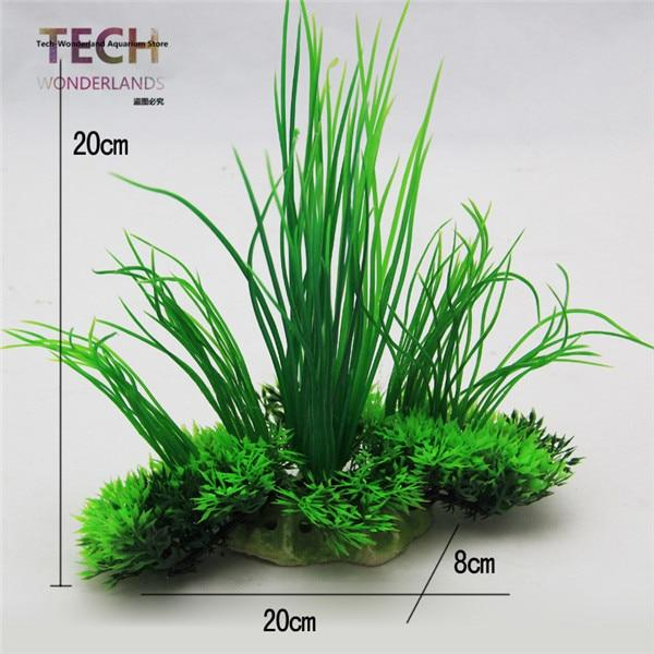 Aquarium Decoration And Ornament Fish Tank Simulation Green Plastic Plant Flowers Decor