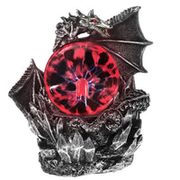 Medieval Dragon Resin Statue Dark Dragons Guardian Halloween Touch Responsive Electric Plasma
