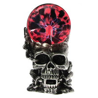 ʻO Magic Skull Head Glass Sculpture Statue Lightning Plasma Ball Touch Sensitive Vampire