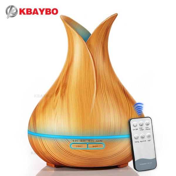 Kbaybo 400Ml Aroma Essential Oil Diffuser Ultrasonic Air Humidifier With Wood Grain 7 Color Changing