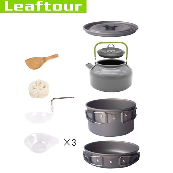 Aluminum Alloy Camping Cooking Set Portable Outdoor Pot Picnic Canteen Survival Hiking Boiler Frying