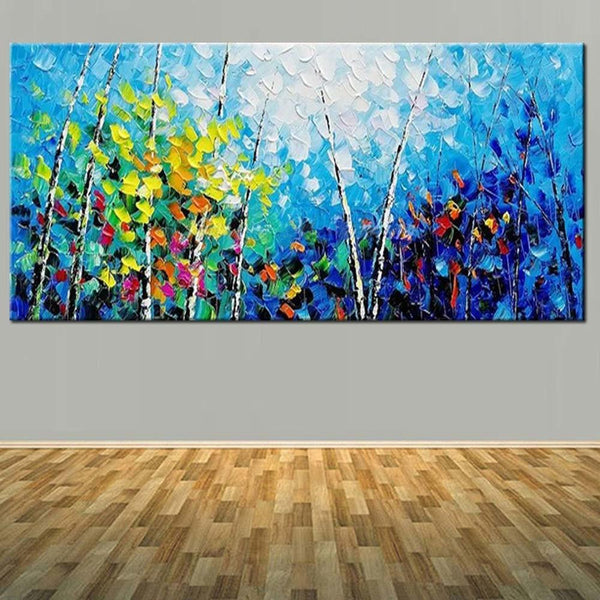 Canvas Oil Painting Abstract Blue Palette Knife Forest Landscape (Hand Painted!)