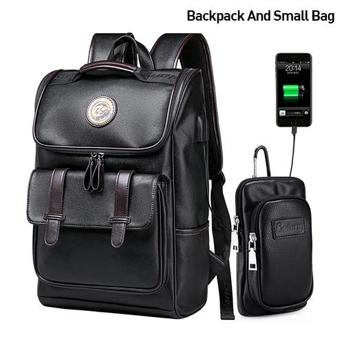 Men Backpack External Usb Charge Waterproof Fashion Pu Leather Travel Bag 1032 / China