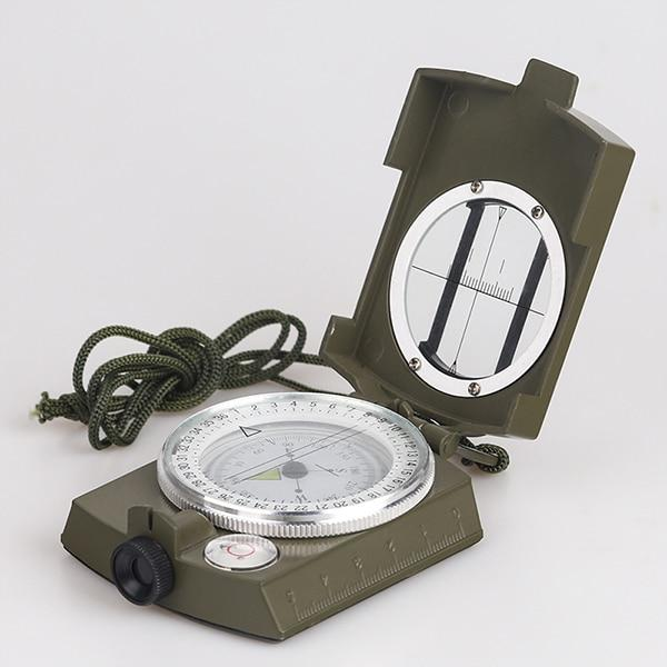 Military Lensatic Compass Survival Handheld Geological Hiking Camping Equipment Green