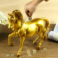 Vintage Horse Statues Figurines Ornaments Heste Crafts Money Boxes Home Decoration Gold