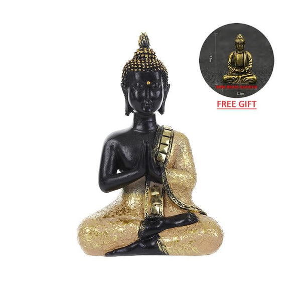 Inch Sitting Buddha Statue Zen Gesture Thai Figurine Sculpture Home Office Decor