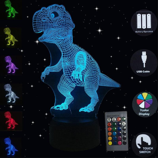 3D Illusion Led Lamp Dinosaur 7 Color Bulb Decoration Animal Night Light Touch Sleeping