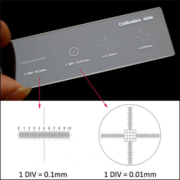 926 0.01Mm Microscope Slides Calibration Slide Ruler Cross Multifunctional Micrometer