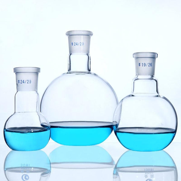 1Pc Single Short Neck Glass Flask Flat Bottom Standard Ground Joint Glassware Chemistry Laboratory