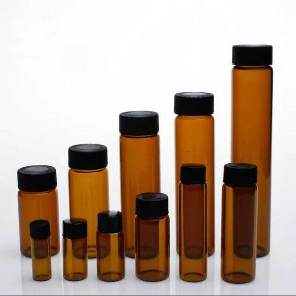 3Ml To 50Ml Amber Clear Glass Sample Bottles Brown Screw-Mouth Essential Oil Bottle Lab Vial