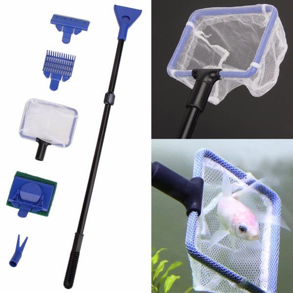 5 In 1 Aquarium Cleaning Tools Quality Net Fish Gravel Rake Algae Scraper Sponge Fork Brush Glass