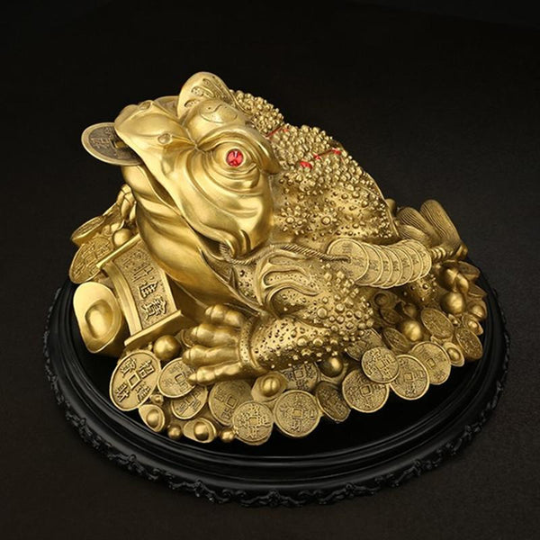 Pure Copper Feng Shui Golden Tripod Toad Lucky Statue Frog Which Wealth