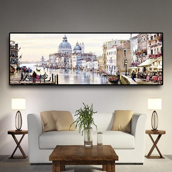 High Quality Canvas Print Abstract Venice City Of Water Oil Painting On Resort Boats Buildings