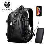 Men Backpack External Usb Charge Waterproof Fashion Pu Leather Travel Bag