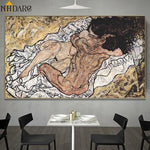 Artist Egon Schiele Naked Embrace Abstract Art Style Canvas Print Painting Poster Wall Pictures