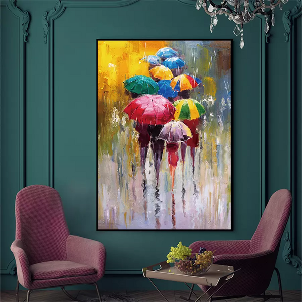 Hand Painted Lovers in Rain Landscape Oil Painting On Canvas Wall Art