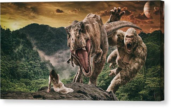 Risk Dinosaur T Rex King Kong Monster Dino -  Stretched Canvas Print Ready to Hang