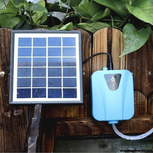 Solar Powered/dc Charging Oxygenator Water Oxygen Pump Pond Aerator With 1 Air Stone Aquarium